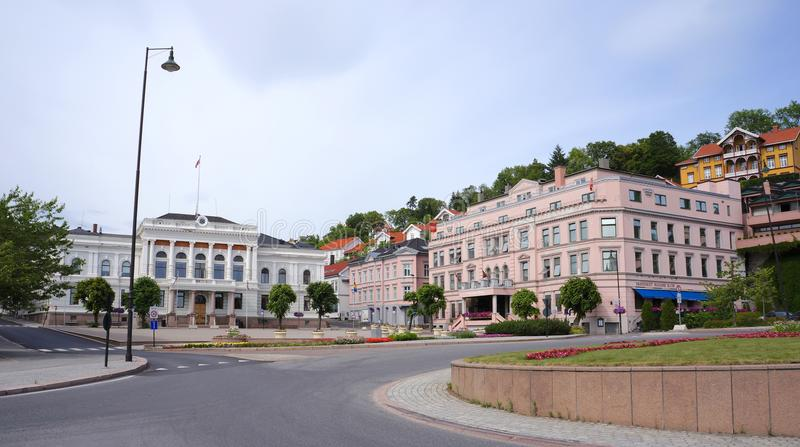 Skien city center, Telemark, Norway. Skien, Norway. June 2018. City center of Skien, a city and municipality in Telemark county, Norway. It is part of the stock image