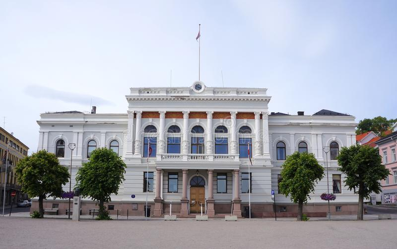 Skien city center, Telemark, Norway. Town hall in the city center of Skien, a city and municipality in Telemark county, Norway. It is part of the traditional royalty free stock image