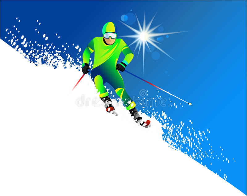 Download Skier stock vector. Image of leisure, holiday, snow, recreation - 23359323