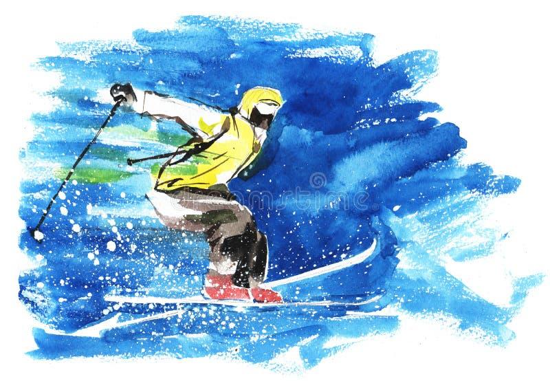 Download Skier stock illustration. Illustration of mountains, motion - 23845532