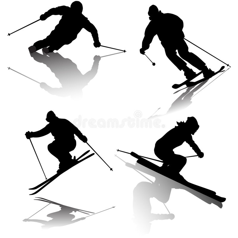 Skier. A group of silhouetted skiers