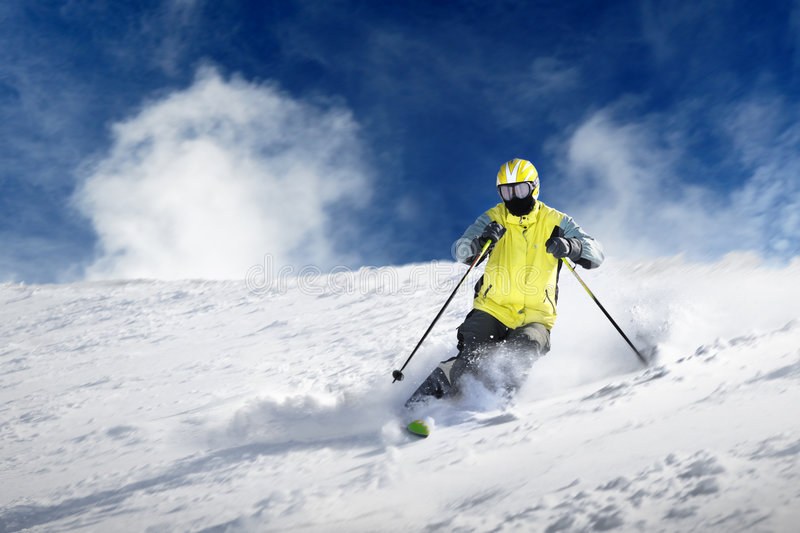 The Skier. Skier on the white snow stock images
