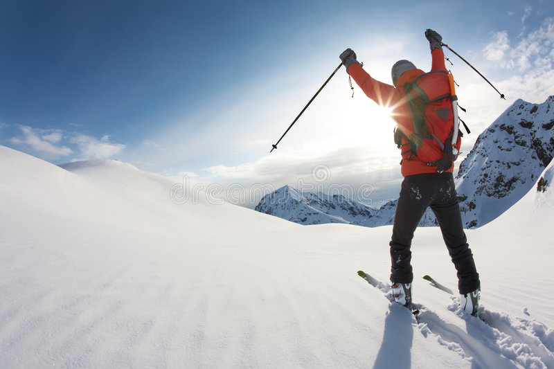 Download Skier stock photo. Image of backpack, sunny, skier, clear - 7576454