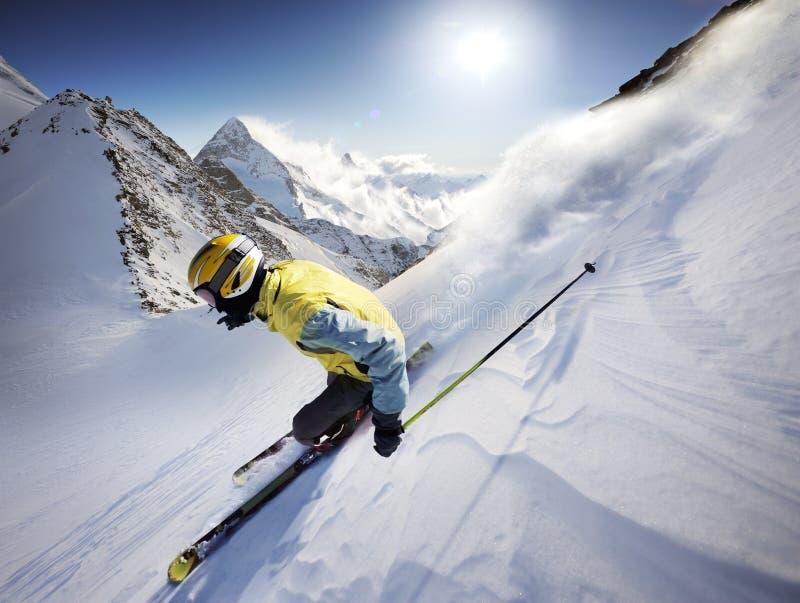 Skier. In high alpen mountains stock photos