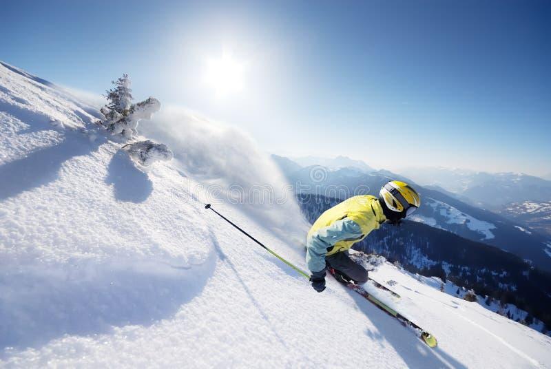 Skier. In high alpen mountains royalty free stock photos
