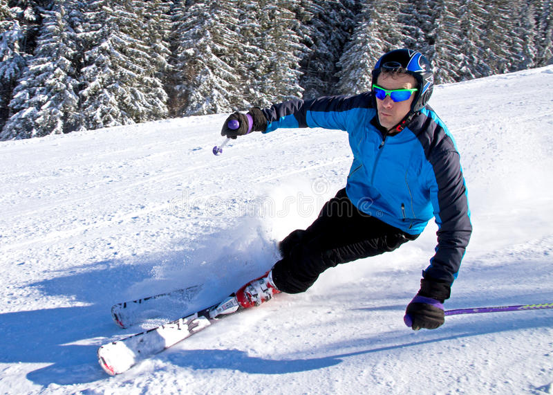 Download A skier is carving stock image. Image of outdoors, hill - 23502661