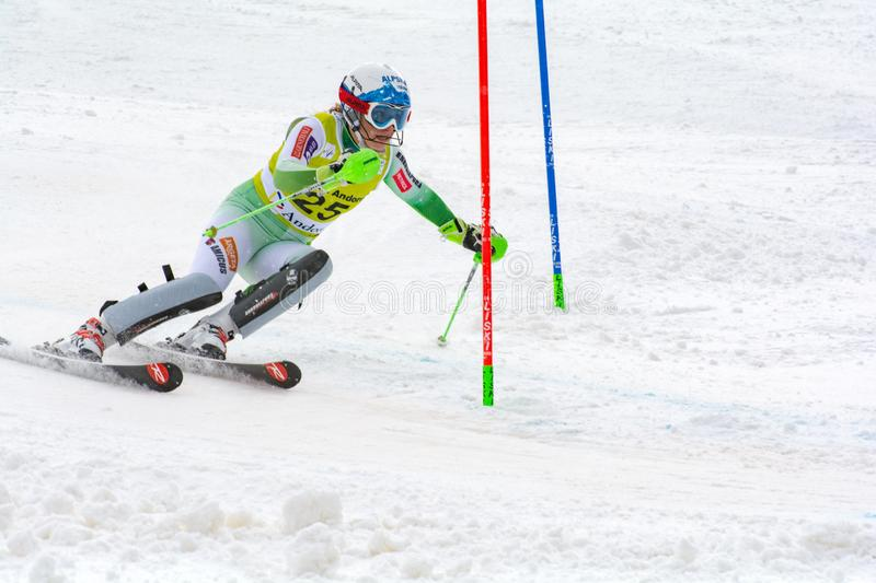 Skier in competes during the Audi FIS Alpine Ski World Cup Women`s Super Combined on February 28, 2016 in Soldeu, Andorra stock photos