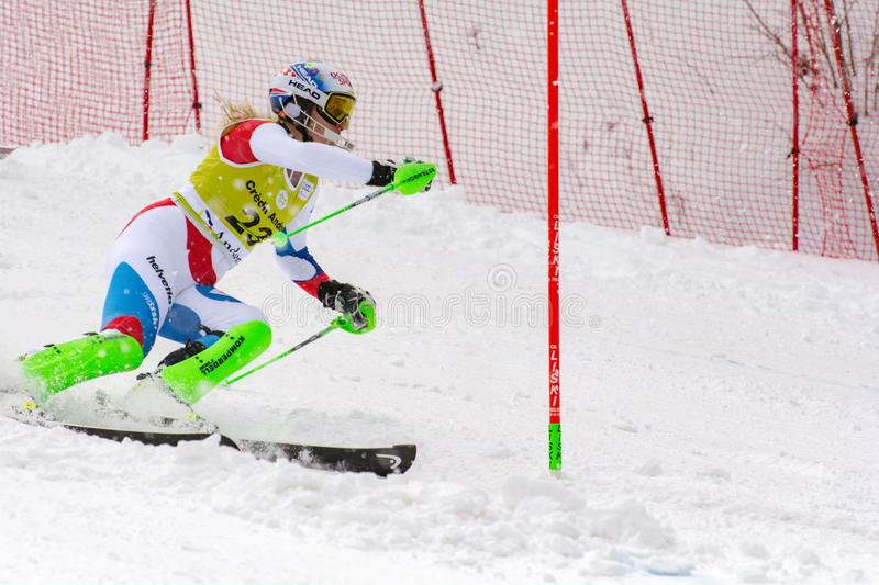 Skier in competes during the Audi FIS Alpine Ski World Cup Women`s Super Combined on February 28, 2016 in Soldeu, Andorra. Audi FIS Alpine Ski World Cup - Women` stock image