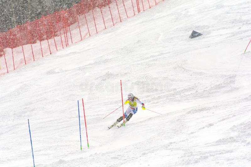 Skier in competes during the Audi FIS Alpine Ski World Cup Women`s Super Combined on February 28, 2016 in Soldeu, Andorra. Audi FIS Alpine Ski World Cup - Women` royalty free stock photos