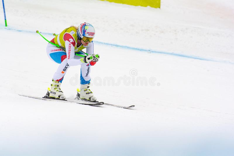 Skier in competes during the Audi FIS Alpine Ski World Cup Women`s Super Combined on February 28, 2016 in Soldeu, Andorra. Audi FIS Alpine Ski World Cup - Women` royalty free stock photography