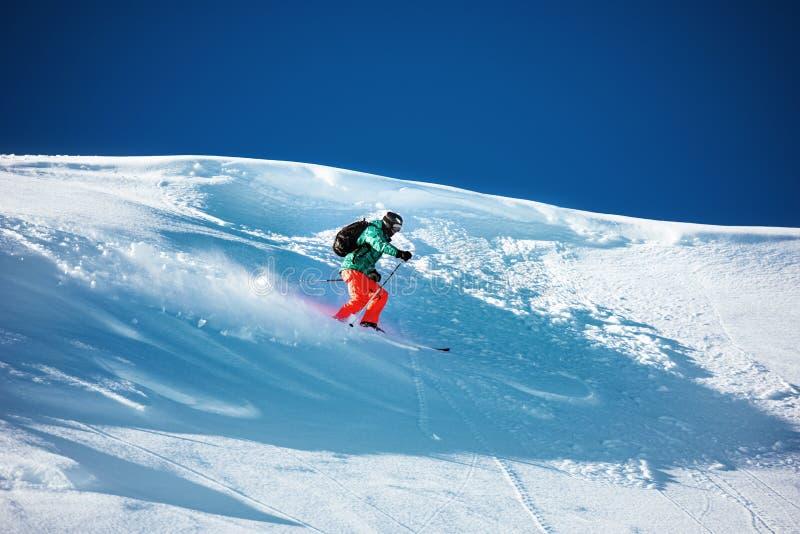 Skier downhill backcountry ski freeride stock photography
