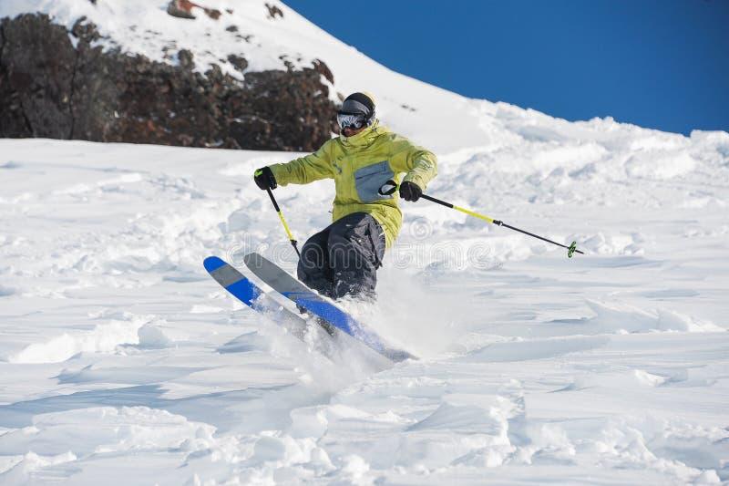 Man amazingly skiing in beautiful Gudauri, Georgia stock images
