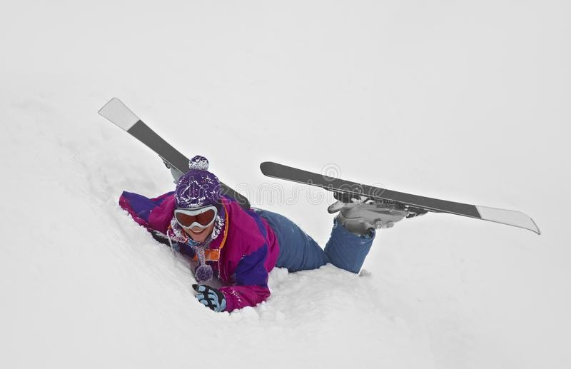 Skier Fallen stock images