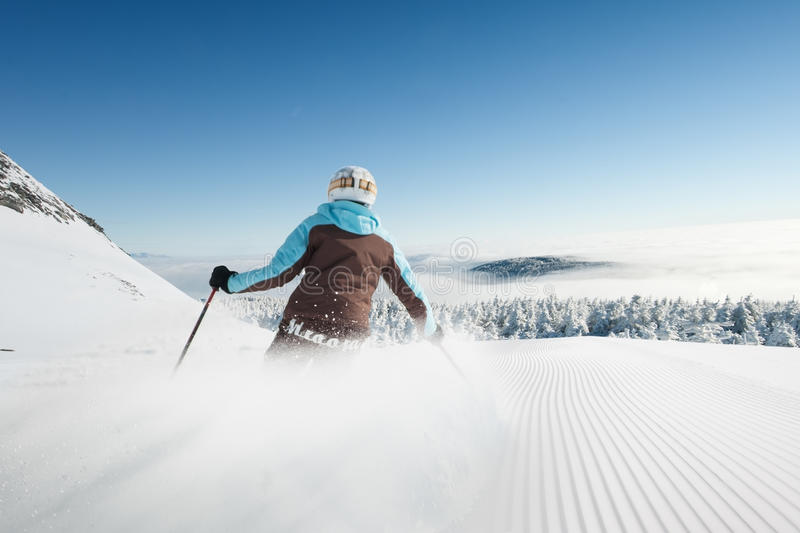 Skier in hight mountain stock photography