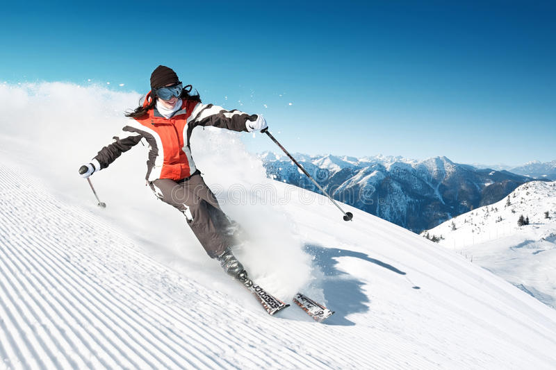 Skier in hight mountain. Woman Skier in hight mountain stock images