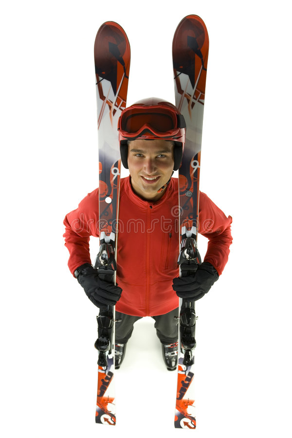 Download Skier with his skis stock image. Image of recreation, parka - 3671895