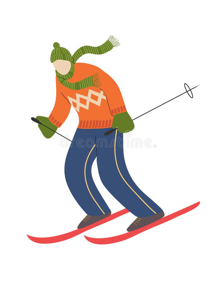 Skier isolated on white background. Man skiing.Flat cartoon cute style design. Athlete on the downhill. Hand draw Vector stock illustration