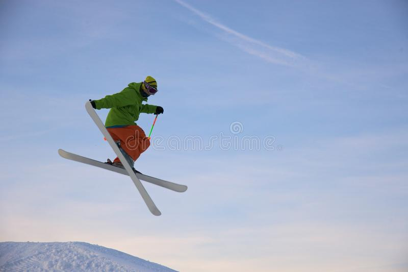 Download Skier is jumping stock image. Image of peak, mountains - 12686537