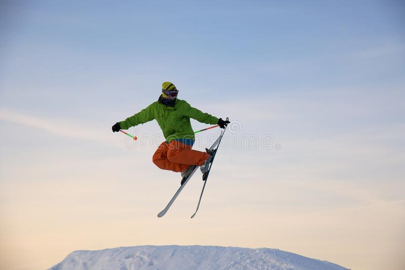 Download Skier is jumping stock image. Image of peak, adult, mountains - 12686563