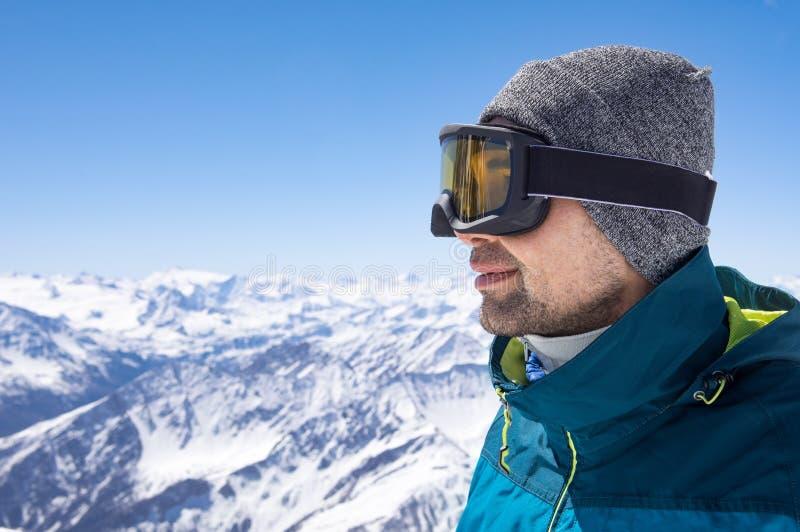 Skier man thinking stock image