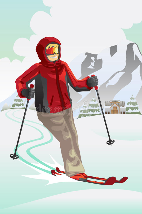 Download Skier in the mountain stock vector. Image of action, exercise - 21094940