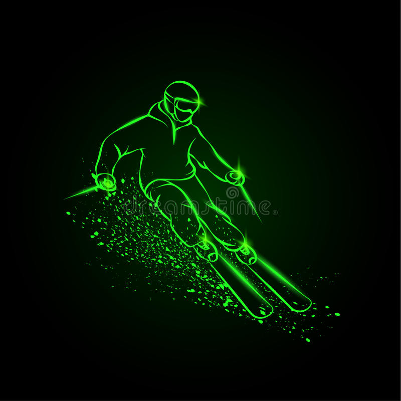 Skier on a mountain slope with snow spray. vector illustration