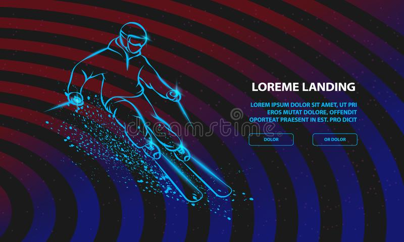 Skier on a mountain slope with snow spray. Vector Sport Background for Landing Page Template. vector illustration