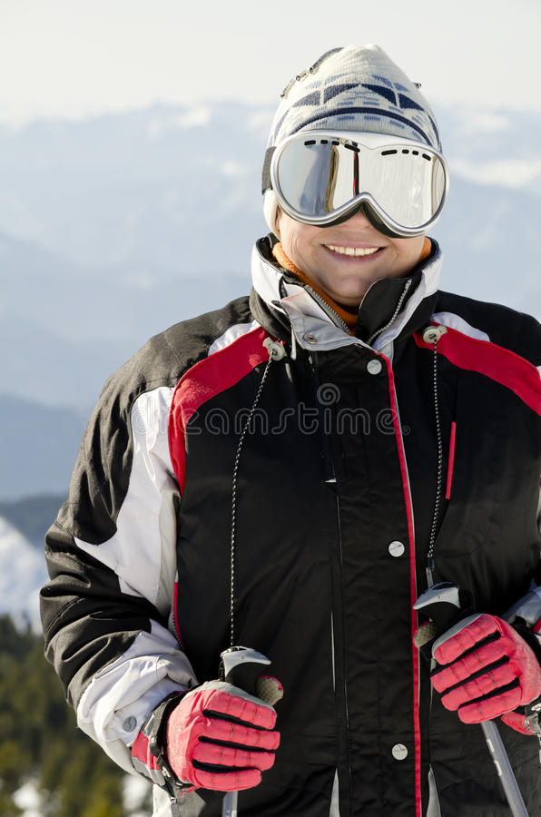 Skier on the mountain top stock photography
