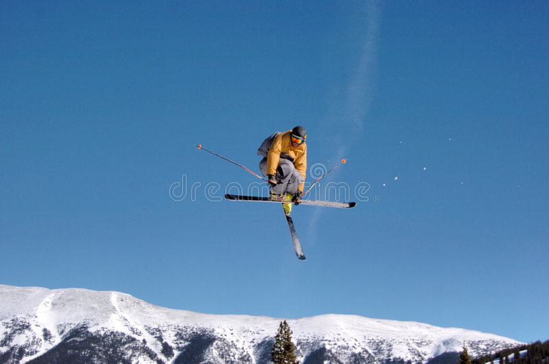Skier mute grab royalty free stock images