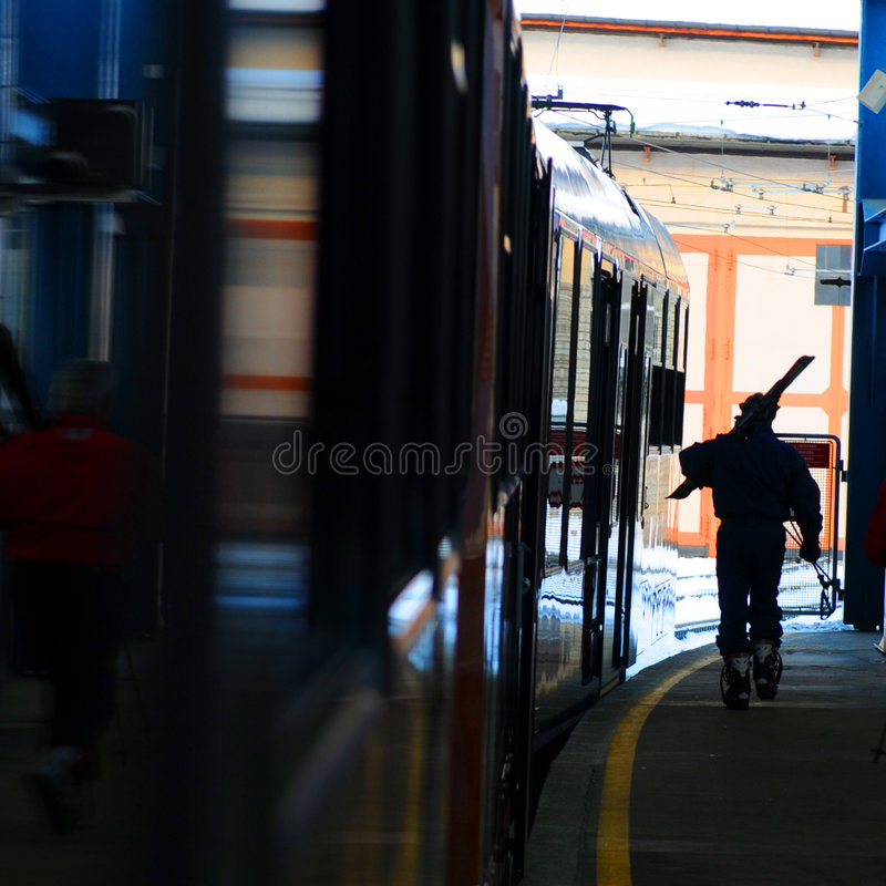 Download Skier on railway platform stock image. Image of equipment - 8769453