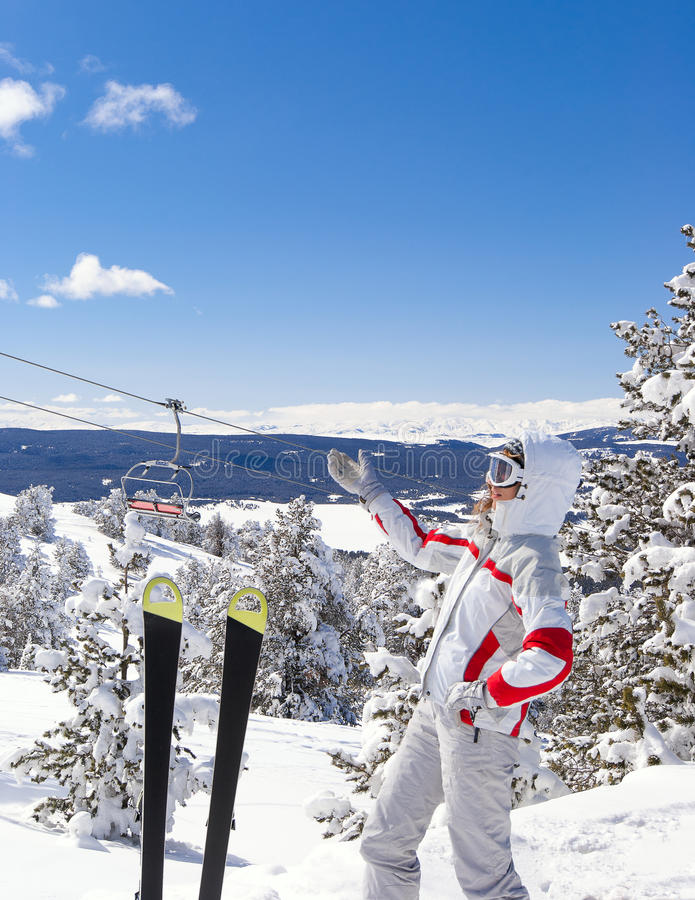 Skier show to beautiful landscape on background