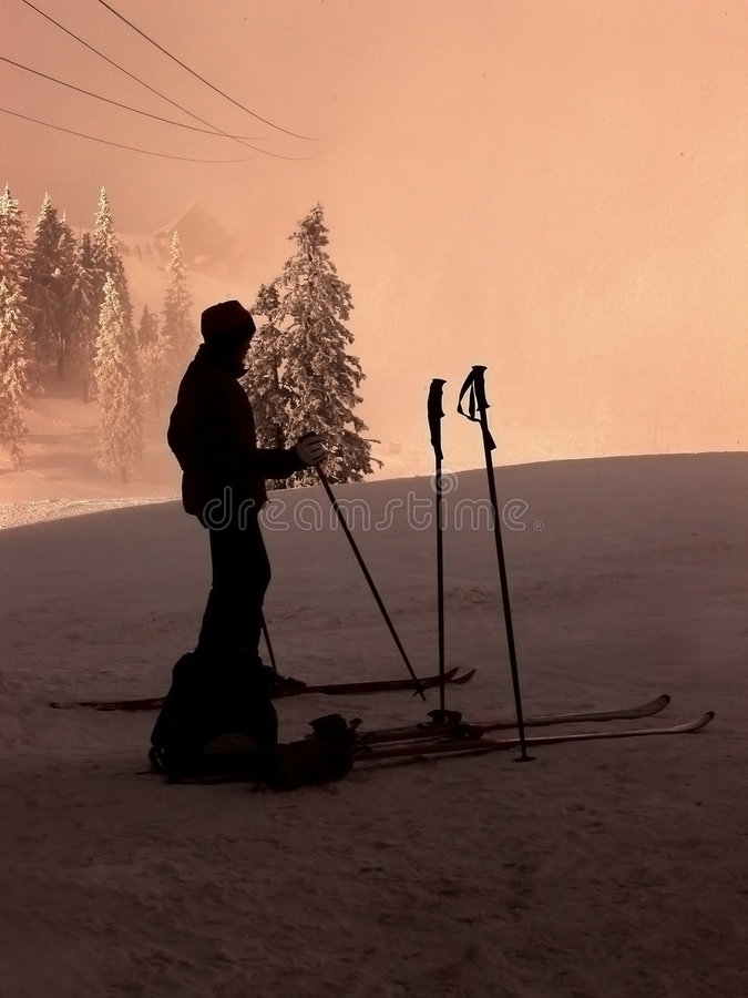 Download Skier Silhouette Stock Image - Image: 107191