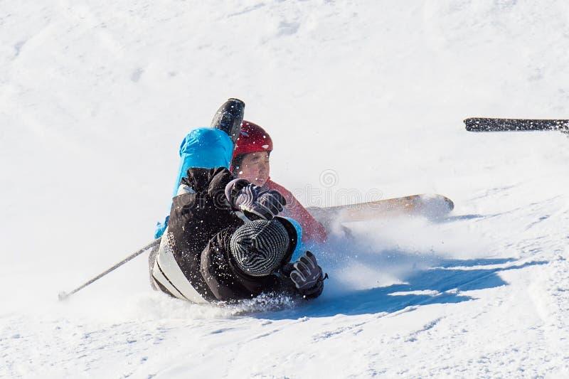 Skier skiing on Deogyusan Ski Resort. DEOGYUSAN,KOREA - JANUARY 1: Skier skiing on Deogyusan Ski Resort in winter,South Korea on January 1, 2016 royalty free stock photos