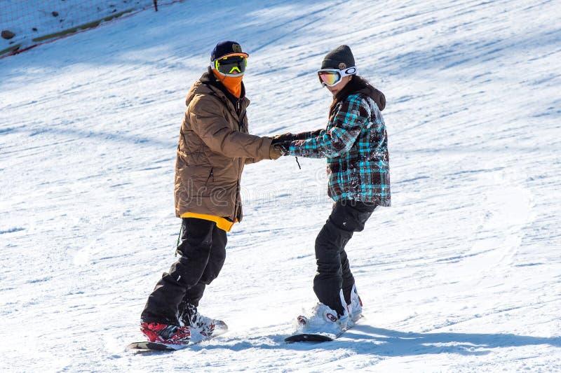 Skier skiing on Deogyusan Ski Resort. DEOGYUSAN,KOREA - JANUARY 1: Skier skiing on Deogyusan Ski Resort in winter,South Korea on January 1, 2016 stock photography