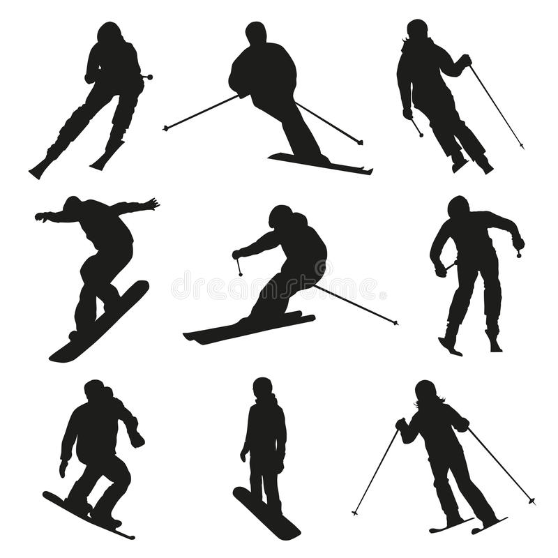 Skier and snowboarder. Set of vector silhouettes vector illustration