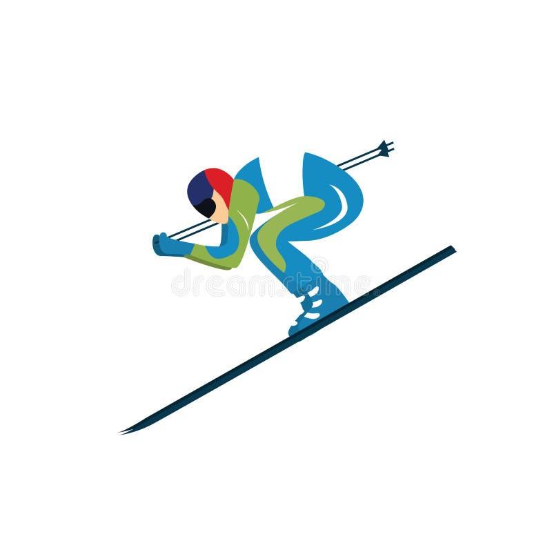 skier sportsman Illustrazione di vettore Isolato illustrazione di stock
