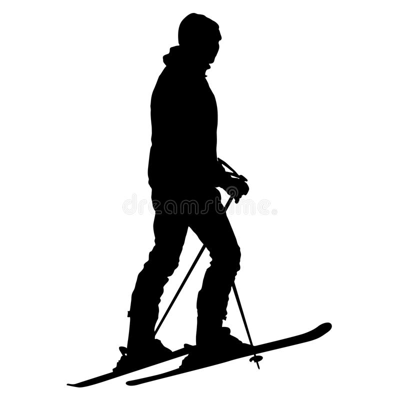 Skier standing on the snow. Vector sport silhouette royalty free illustration