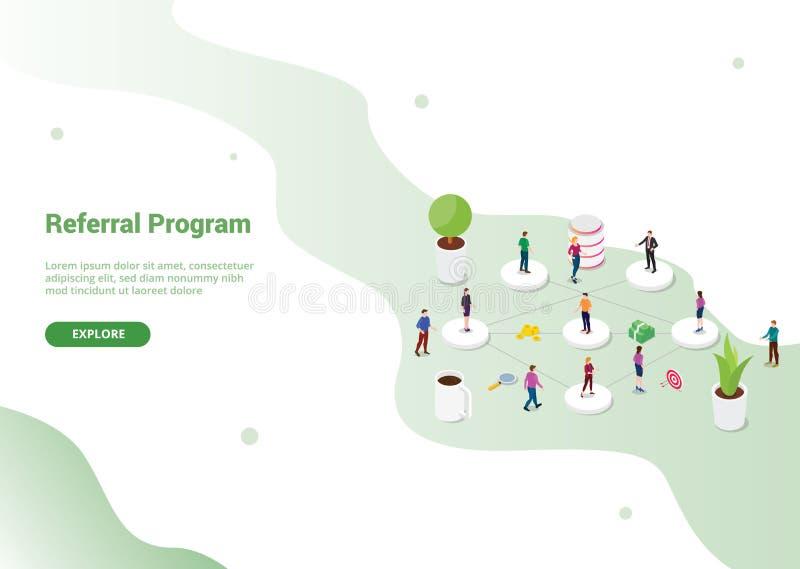 Skierowanie filii partnerstwa program z drużynowymi ludźmi łączy lub powiązanie dla strona internetowa szablonu lub desantowego h royalty ilustracja