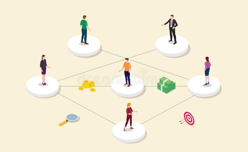 Skierowanie filii partnerstwa program z drużynowymi ludźmi lub ikona z nowożytnym mieszkanie stylem łączymy powiązania i biznesu  ilustracji