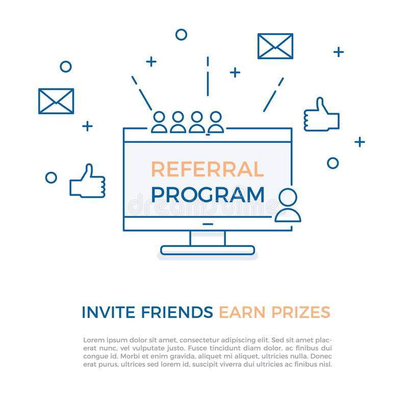 Skierowanie program, filia marketing, online biznesowy pojęcie Zaprasza przyjaciół, zarabia nagrody, również zwrócić corel ilustr royalty ilustracja