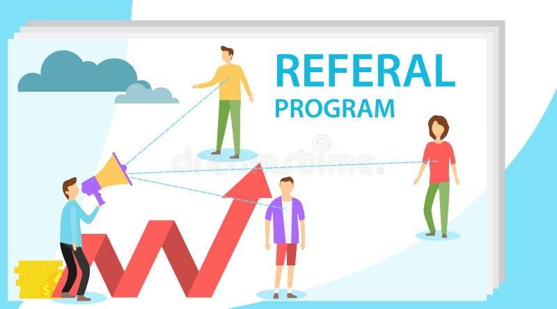 Skierowanie program Program przyciągać nowych klientów Sie? marketing Pojęcie przyciągać skierowania wektor ilustracja wektor