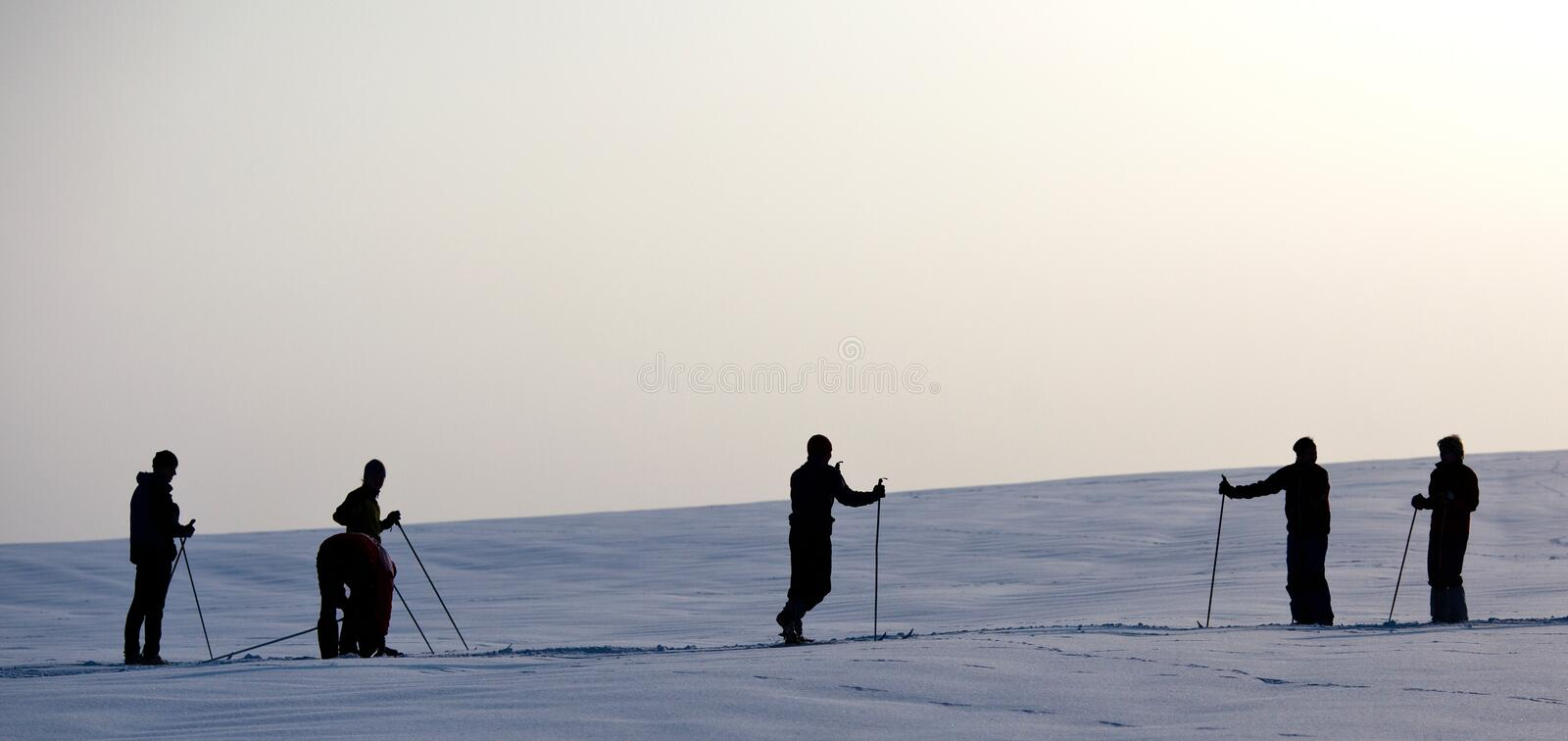 Download Skiers stock image. Image of slope, silhouette, snowboard - 15428369