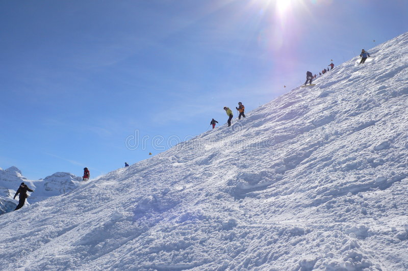Download Skiers on Cubere run stock photo. Image of sport, snow - 2120474