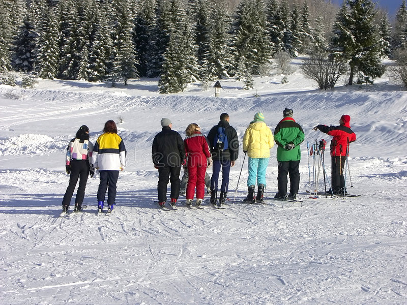 Download Skiers and instructor stock photo. Image of blue, frost - 442608