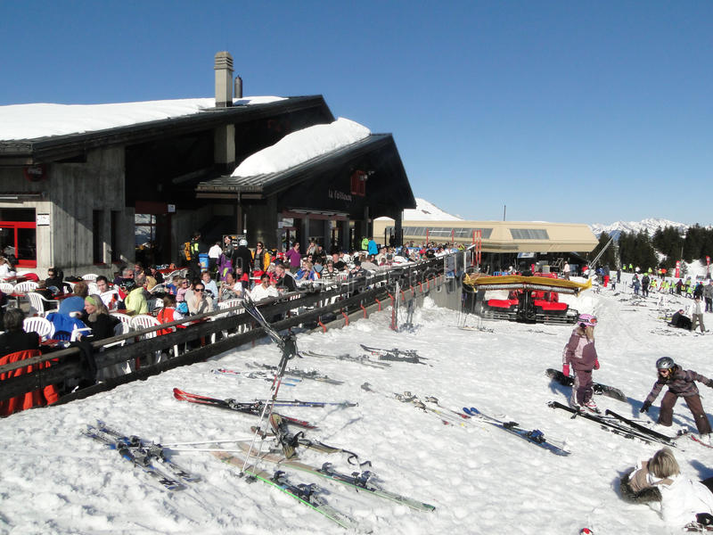 Skiers Relax At A High Mountain Restaurant Editorial Stock Image