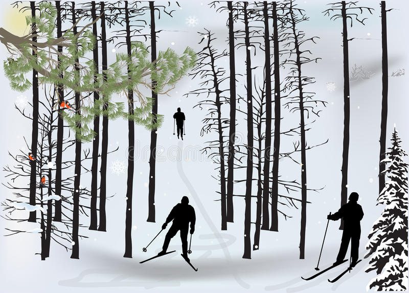 Skiers silhouette in snow winter forest stock illustration