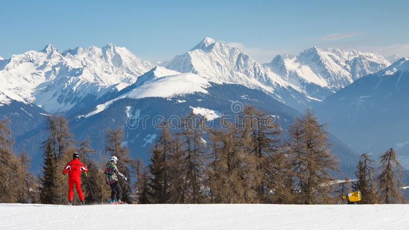 Download Skiers On A Ski Run In The Alps Stock Photo - Image: 28499206