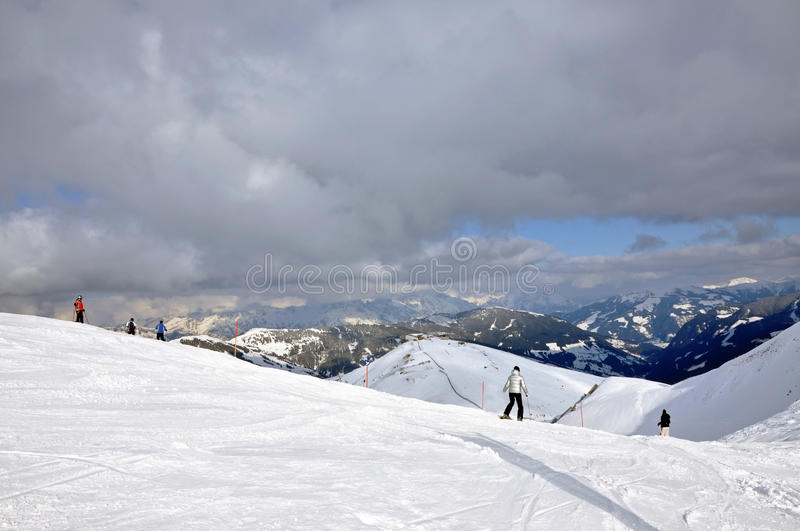 Skiers On The Slope In Saalbach, Austria Stock Photography