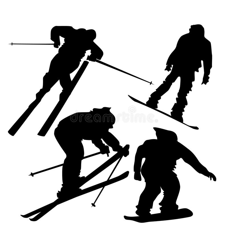 Skiers and snowboarders vector illustration