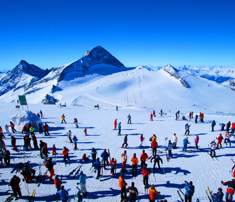 Download Skiers in winter stock photo. Image of pole, blue, nature - 4625786